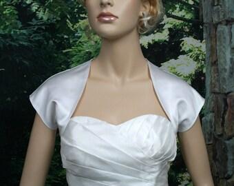White sleeveless satin bolero wedding bolero jacket shrug