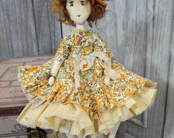 Art doll, Rag doll, rag doll, fabric doll, Mini doll, doll, Doll, Ooak Handmade heirloom doll handmade doll Elodie Romantic