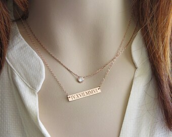 Custom Coordinates Bar Necklace • Engraved Bar • Date Necklace • Roman Numerals Necklace • Engraved Date Jewelry • Wedding Date • Bride Gift