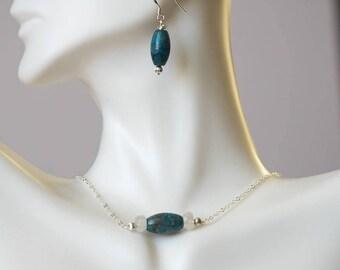 Dangle Earrings/ Apatite Earrings/ Blue Apatite Earrings/ Natural Blue Gemstone Dangle Earrings/ Unique Gift