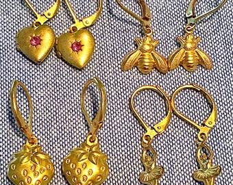Girls Brass Charm Earrings, Raw Brass, Ballet Dancer, Strawberry, Bumble Bee, Swarovski Crystal Heart, Girl, Tween, Children's Womens, Jewel