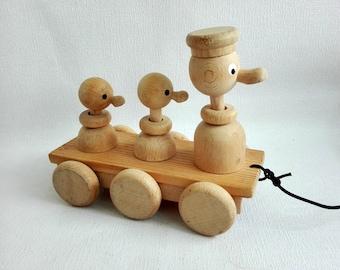 Vintage Wooden Pull Toy, Three Ducks,Wobbling Ducks, 1980's