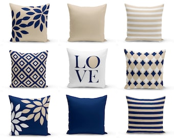 Outdoor Pillows, Navy White Sand , Outdoor Home Decor, Outdoor Throw Pillows