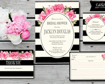 Pink Roses Bridal Shower Invitation, Bridal Luncheon Invite, Pink Peonies, Roses, Floral Striped Invitation, black and white striped invite