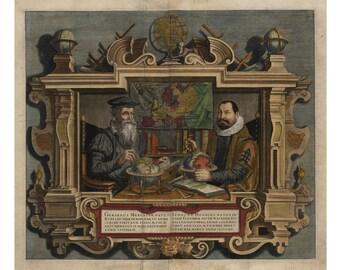 Portrait of Map Makers Mercator & Hondius; Fine Antique Reprint