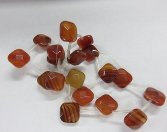 Natural Carnelian Faceted Flat Cusshion Teardrop Beads - Carnelian Beads
