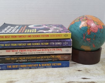 The Best From Fantasy and Science Fiction, Set of 5, 1960s-1970s, vintage sci fi, science fiction