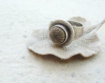 Green Sea Urchin Silver Ring