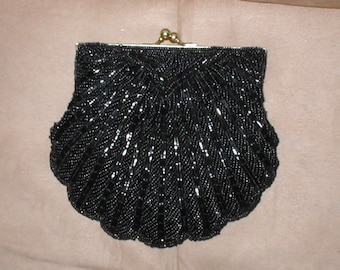 Vintage Black Beaded Clamshell Evening Purse