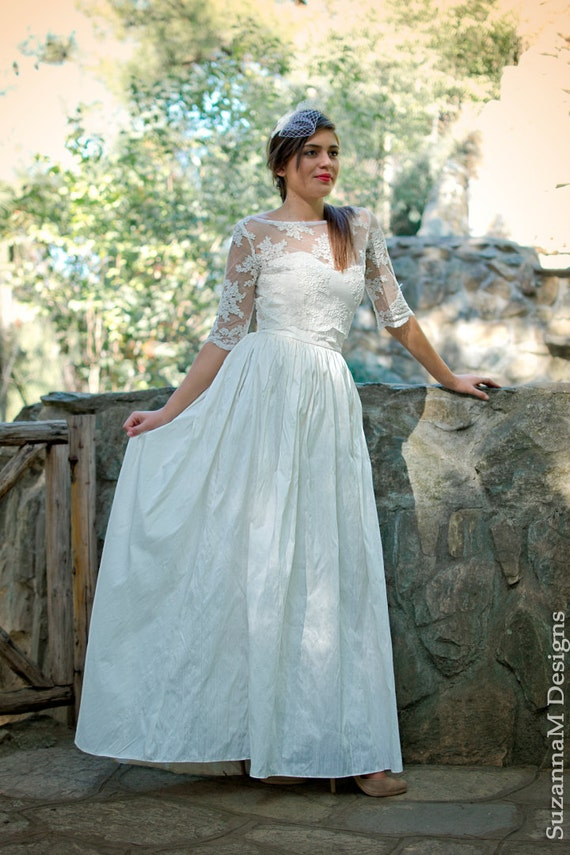 Wedding gown Long Wedding Dress Ivory Wedding Dress