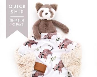 Raccoon Lovey. Animal Lovey. Raccoon Lovey. Woodland Lovey. Mini Baby Blanket. Security Blanket. Lovie. Minky Lovey.