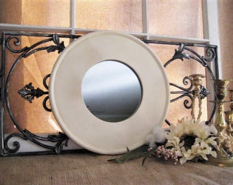 Farmhouse Chic Round Mirror in Shabby Ivory Cream UPCYCLED Round Wood Framed Mirror ROUND Wall Mirror