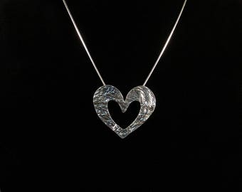 Reticulated Silver Heart Pendant Necklace