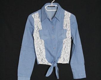 T-shirt kant jaargang 1980 s /blouse vintage / gerecycled shirt maat S - 36