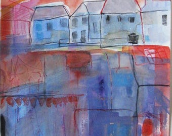 Row of houses, watercolor on paper, original art
