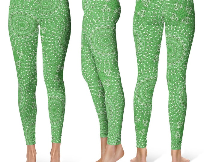 Green Leggings Yoga Pants, Unique OOAK Gift, One of a Kind Clothing, Printed Yoga Tights for Women
