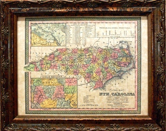North Carolina State Map Print of an 1850 Map on Parchment Paper