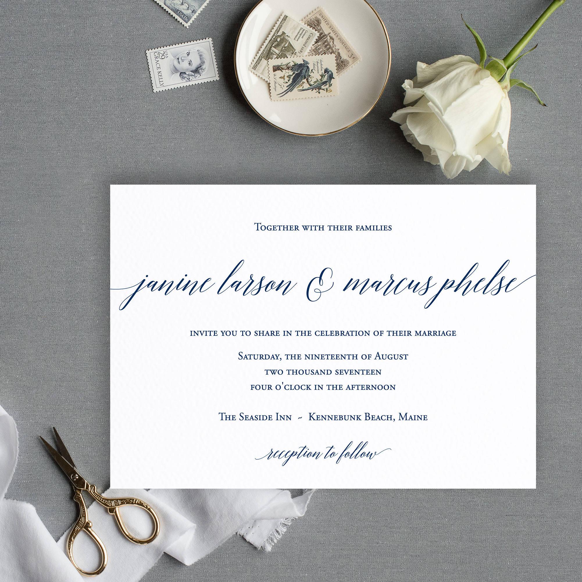 Minimalist Wedding Invitation Simple Navy Wedding Invitation
