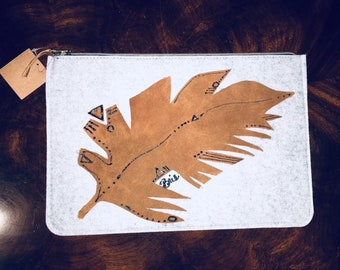 Tribal Palm Leaf- Handmade Art Purse / Clutch