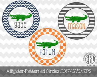 Alligator Circle Frames .DXF/.SVG/.EPS Files for use with your Silhouette Studio Software