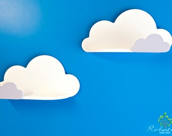 Cloud Shelf with small, Shelf For Baby Nursery, Kids Room, Wall Decorations, Decorations for Bedroom, Wooden Shelf, Decor, Wall Artwork