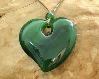 Canadian Nephrite Jade Heart Pendant - Green Jade - Natural Jade - Jade Necklace
