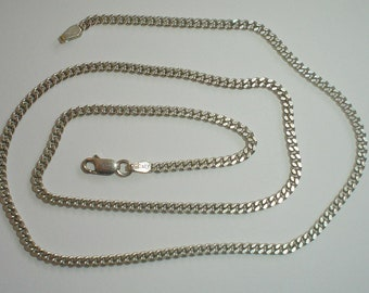Silver necklace sterling Italian vintage curb chain [CH10] 20 inches