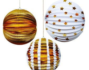 Shiny Metallic Gold Foil and White Lantern Paper Decorations for Birthday Parties, Weddings and Children's Room Decorations
