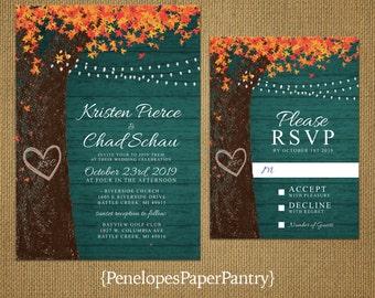 Fall wedding invitations etsy elegant teal rustic fall wedding invitationoak treecarved heartcarved initialsorange leavesfairy lightsbarn woodprinted invitation filmwisefo