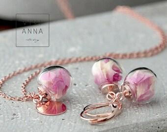 Personalisiertes echte Rosenblätter Set, rose gold plated ,echte blumen, rosen Schmuck,   Set039