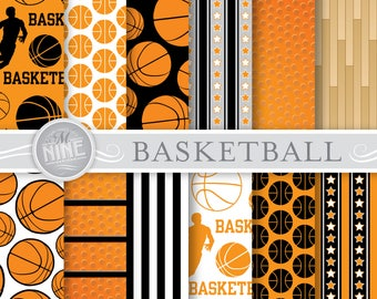 BASKETBALL Digital Paper / Basketball Party Printables / Basketball Patterns, Sports Theme Party, Basketball Downloads, DIY Basketball Paper