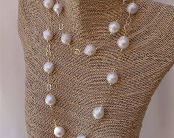 Long White Baroque Pearl and Gold Chain Necklace
