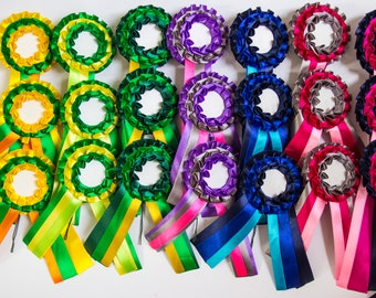 Set of 21 rosettes, for pets, cats, dogs and horses, party ribbon or badge