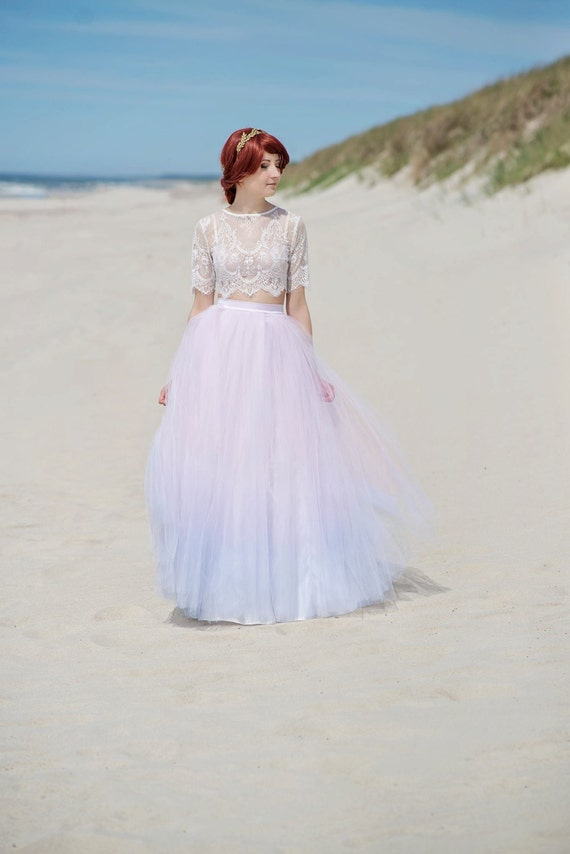 Serenity - ombre bridal tulle skirt with a slit