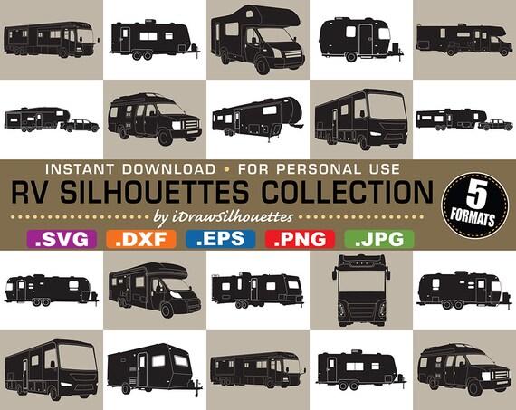 16 RV Motorhome Travel Trailer Clip Art Images 5 Formats