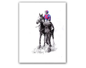 Original Fun Horse Racing Graphite on Paper ART LLMartin Kentucky Derby Thoroughbred Artwork