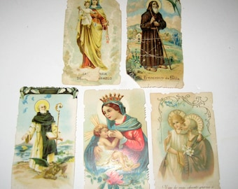 5 Antique (1890s) Italian Holy Religious Prayer Cards