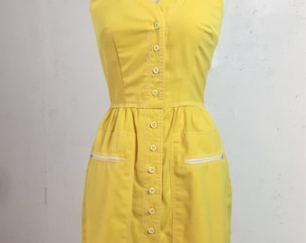 On hold for Carrisa Vintage 1970s Vicky Vaughn Yellow Halter Dress