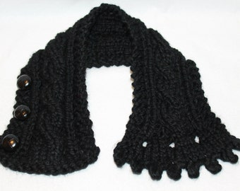 Buttoned Cowl,  Chunky Cowl, Fisherman's Wife Cowl, Cable Knit Cowl, Neck Warmer, Knitted Cowl, Cable Knit Scarf, Color Black