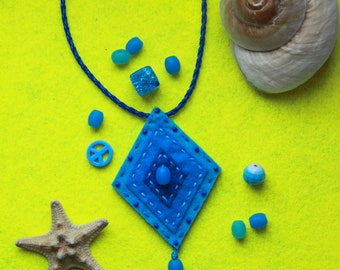 blue Boho beaded felt necklace
