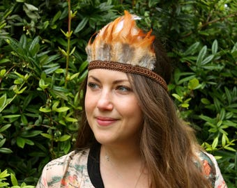 brown feather headband | feather headpiece | festival headdress | woodland party | wilderness | feather crown | outfit | festival costume