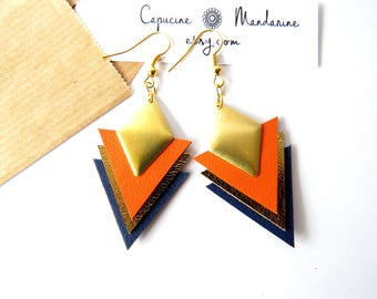 Triangle earrings - Navy Blue Orange gold leather