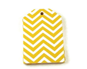 Large Paper Gift Tags in Yellow Chevron Set of 20