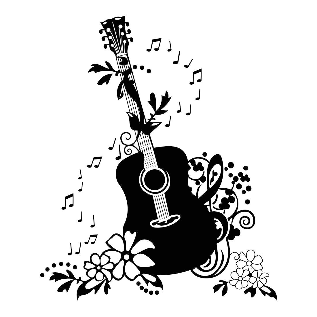 Decorative Guitar Music Graphics SVG Dxf EPS Png Cdr Ai Pdf