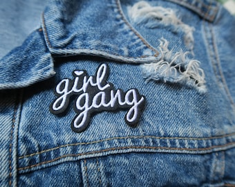 Girl Gang // DIY Feminist Patch Applique iron on embroidered girl power black and white denim badge easy application girls feminism