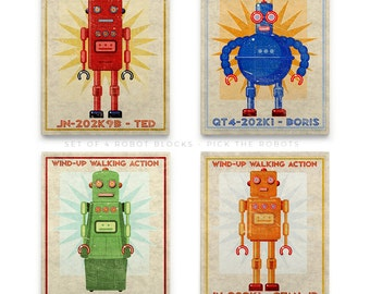 "Boys Room Decor Space, Robot Nursery Decor Boy, 4 Retro Robot Art Series Blocks, 8""x10"" Art for Boys Room, Robot Nursery Art Kid Bedroom"