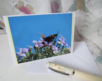 Butterfly handmade card A6 blank inside C011