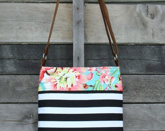 Crossbody Bag, Floral, Black and White Stripe, Genuine Leather, Everyday Purse, Adjustable Strap