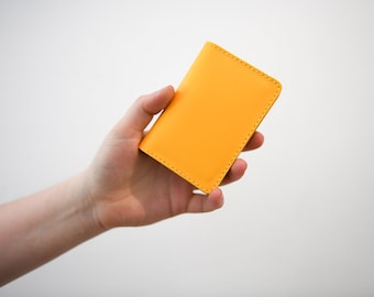 Card holder etsy leather card holder chroma yellow handmade leather shirt wallet slim credit card reheart Gallery