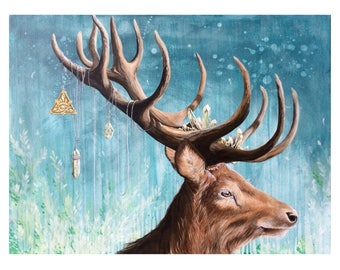 Art Print: A Dear Deer. Limited edition, Deer, antler, stag, king, crystal, allseeing eye, animal, magical, realism, pop surrealism, lowbrow